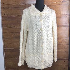 Arancrafts %100 merino wool cardigan sweater S